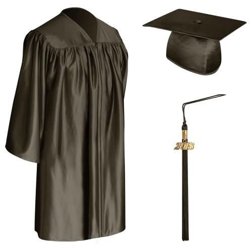 Brown Child Graduation Cap, Gown & Tassel