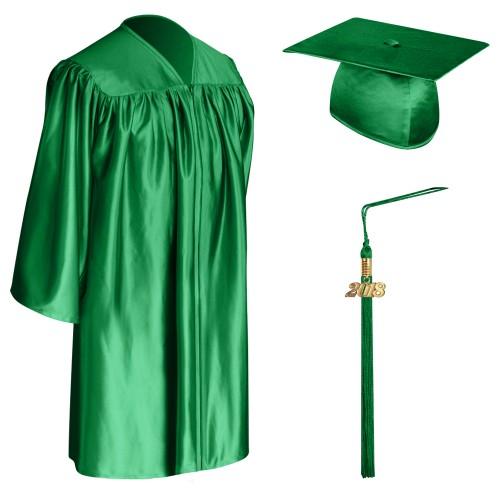 Green Graduation Cap Gown Tassel For Children