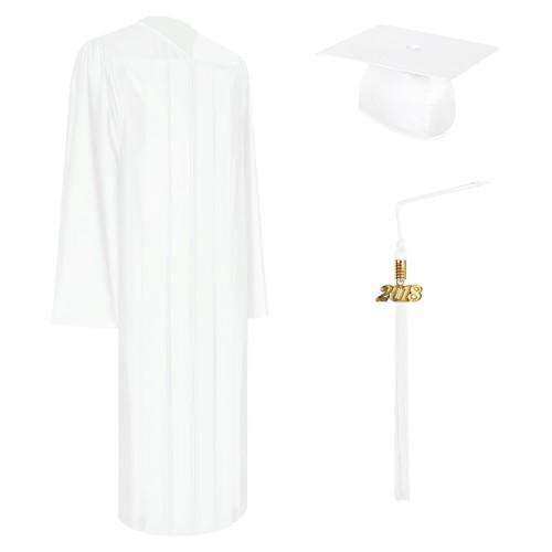 Shiny White High School Graduation Cap, Gown & Tassel