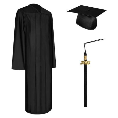 Shiny Black High School Graduation Cap, Gown & Tassel