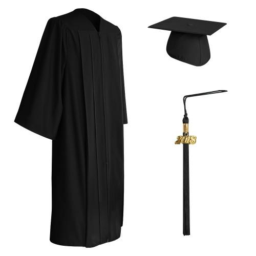 Matte Black High School Graduation Cap, Gown & Tassel