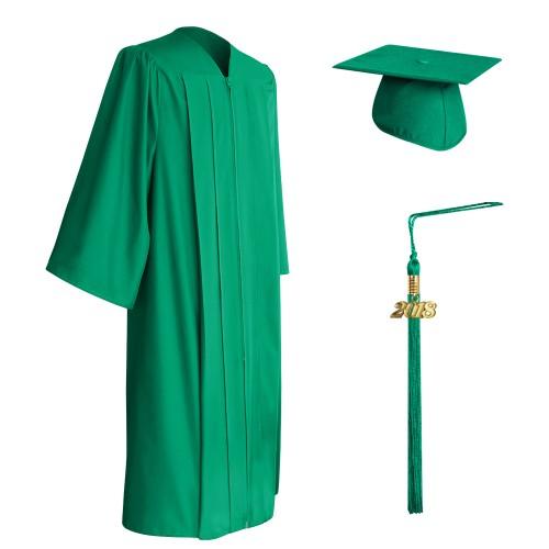 Matte Emerald Green High School Graduation Cap, Gown & Tassel