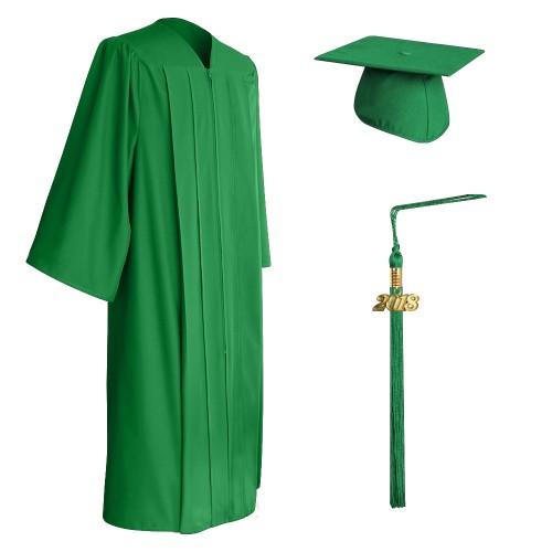 Matte Green High School Graduation Cap, Gown & Tassel