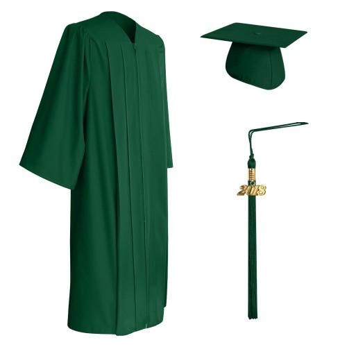 Matte Hunter Green High School Graduation Cap, Gown & Tassel