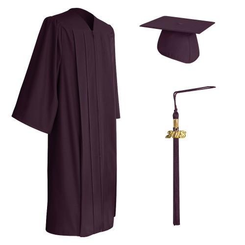 Matte Maroon College and University Graduation Cap, Gown & Tassel