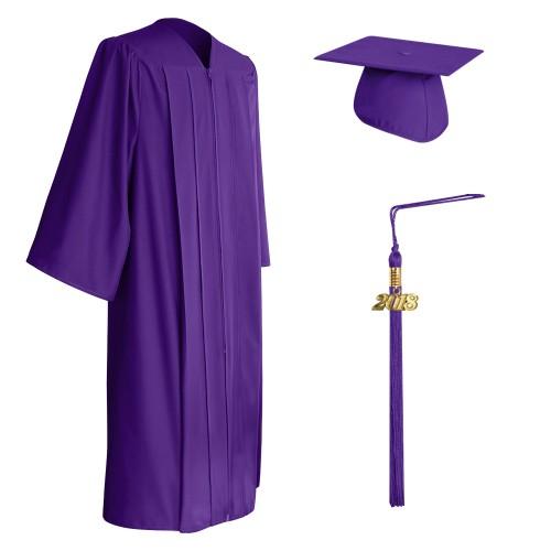 Matte Purple High School Graduation Cap, Gown & Tassel