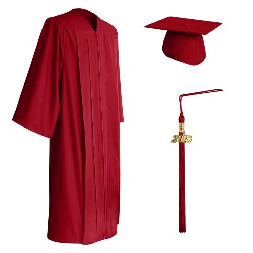 Matte Red High School Graduation Cap, Gown & Tassel