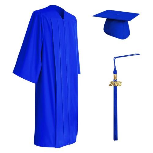 Matte Royal Blue College and University Graduation Cap, Gown & Tassel