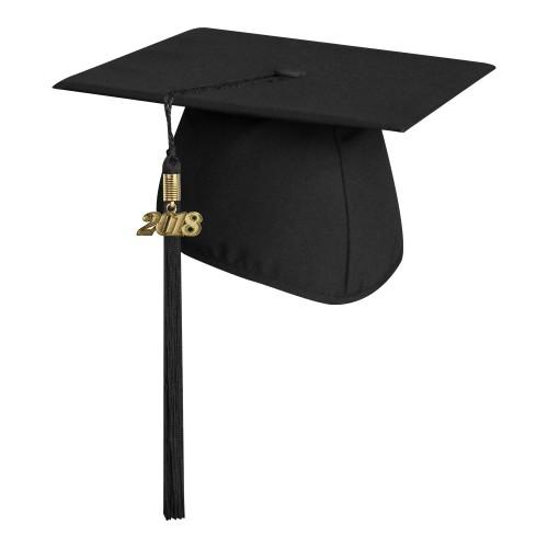 Matte Black Graduation Cap With Tassel High School