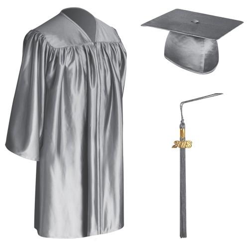 Silver Child Graduation Cap, Gown & Tassel