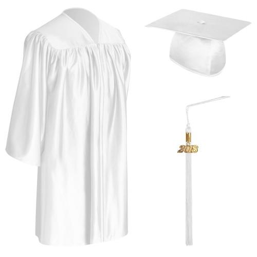 White Child Graduation Cap, Gown & Tassel