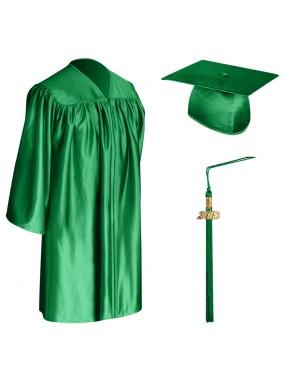 Green Child Graduation Cap, Gown & Tassel