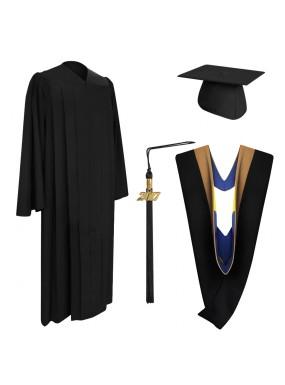Deluxe Black Bachelor Graduation Cap, Gown, Tassel & Hood