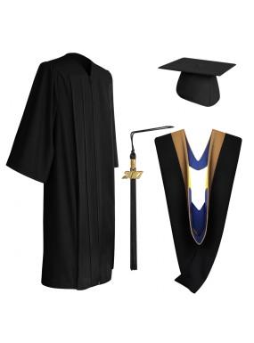 Matte Black Bachelor Graduation Cap, Gown, Tassel & Hood