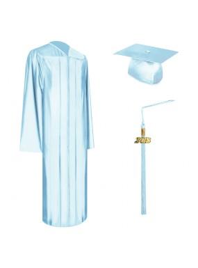 Shiny Light Blue High School Graduation Cap, Gown & Tassel