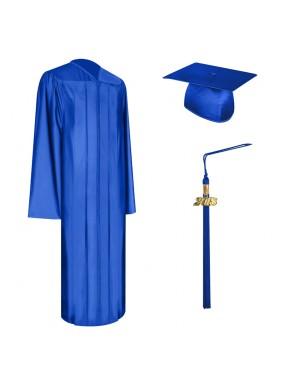 Shiny Royal Blue High School Graduation Cap, Gown & Tassel