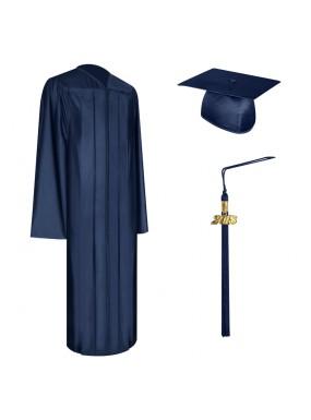 Shiny Navy Blue High School Graduation Cap, Gown & Tassel