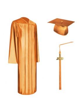 Shiny Orange High School Graduation Cap, Gown & Tassel