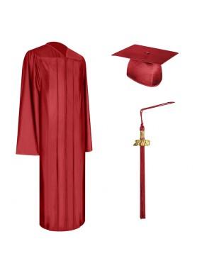 Shiny Red High School Graduation Cap, Gown & Tassel