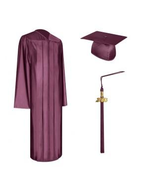 Shiny Maroon High School Graduation Cap, Gown & Tassel