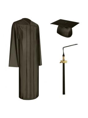 Shiny Brown High School Graduation Cap, Gown & Tassel