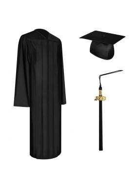Shiny Black Middle School and Junior High Graduation Cap, Gown & Tassel