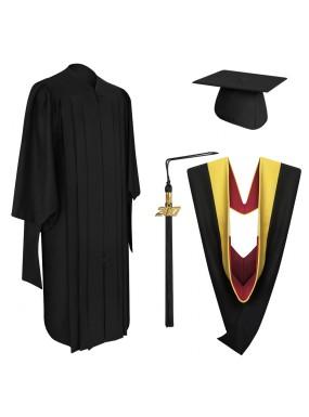 Deluxe Master Graduation Cap, Gown, Tassel & Hood