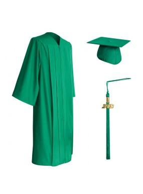 Matte Emerald Green Middle School and Junior High Graduation Cap, Gown & Tassel
