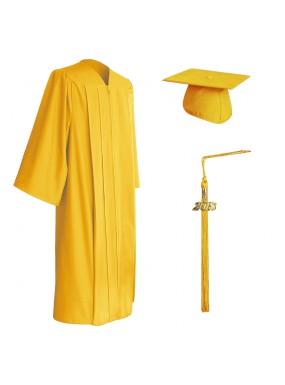 Matte Gold Middle School and Junior High Graduation Cap, Gown & Tassel