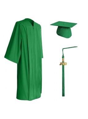 Matte Green Middle School and Junior High Graduation Cap, Gown & Tassel