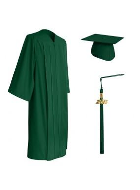 Matte Hunter Green Middle School and Junior High Graduation Cap, Gown & Tassel