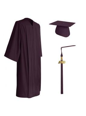 Matte Maroon Middle School and Junior High Graduation Cap, Gown & Tassel