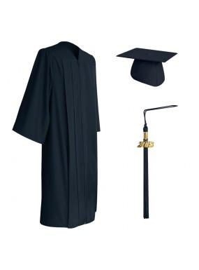 Matte Navy Blue Middle School and Junior High Graduation Cap, Gown & Tassel