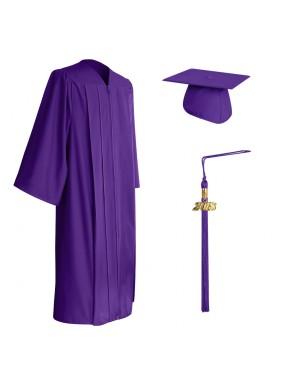 Matte Purple Middle School and Junior High Graduation Cap, Gown & Tassel