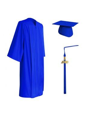 Matte Royal Blue Middle School and Junior High Graduation Cap, Gown & Tassel