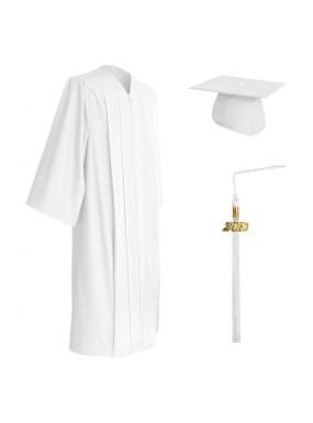 Matte White Middle School and Junior High Graduation Cap, Gown & Tassel