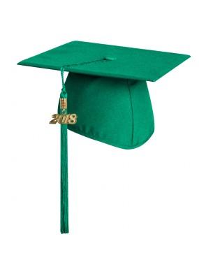 Matte Emerald Green Middle School and Junior High Graduation Cap with Tassel
