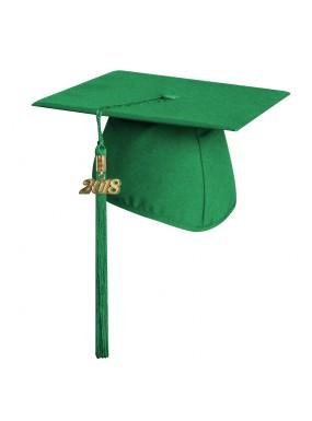 Matte Green Elementary Graduation Cap with Tassel