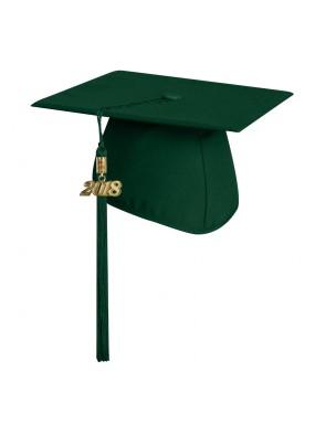 Matte Hunter Green Middle School and Junior High Graduation Cap with Tassel