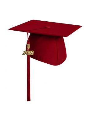 Matte Red Elementary Graduation Cap with Tassel
