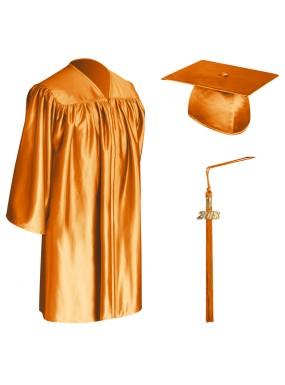Orange Child Graduation Cap, Gown & Tassel