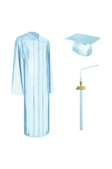 Shiny Light Blue Graduation Cap Gown Amp Tassel Set College