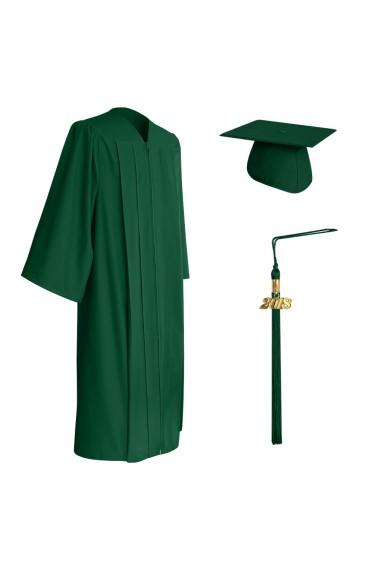 Endea Graduation Shiny Hunter Green Gown