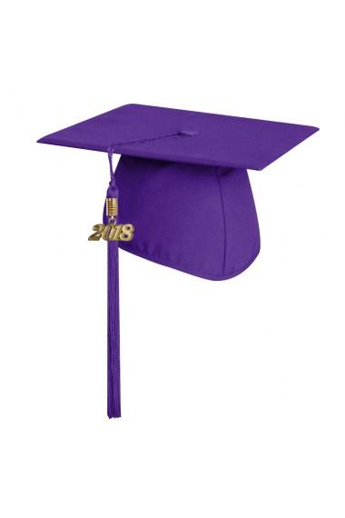 Matte Purple Graduation Cap With Tassel High School
